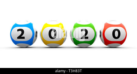 Lottery balls on a white table represents the new 2020 year, three-dimensional rendering, 3D illustration - Stock Photo