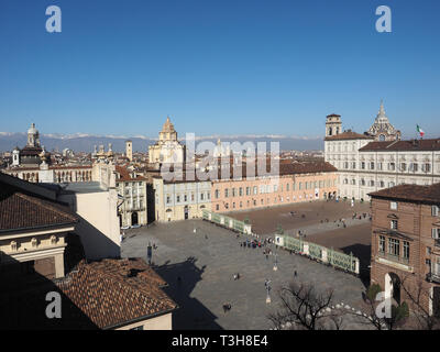 TURIN, ITALY - CIRCA FEBRUARY 2019: Aerial view of the city - Stock Photo