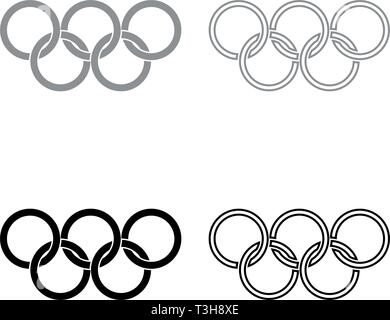 Olympic rings Five Olympic rings icon set black grey color vector illustration flat style simple image - Stock Photo