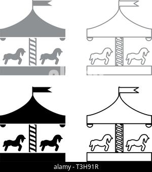 Carousel roundabout merry-go-round Vintage merry-go-round icon set black grey color vector illustration flat style simple image - Stock Photo