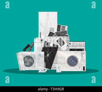 E-waste electrical and electronic equipment pile. Computer and home electronic waste stack. Trash, recycling, ecology. Vector illustration in flat sty - Stock Photo