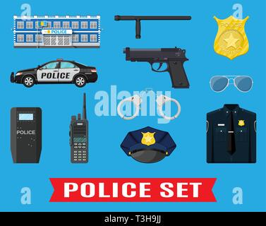 Police equipment set. Handcuffs, riot shield, handgun, truncheon, badge, radio, car and other element. Vector illustration in flat style - Stock Photo