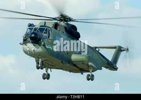 Italian Air Force, Aeronautica Militare, AM, Agusta Sikorsky AS-61R, HH-3F Pelican helicopter MM81351 15-39. Flying. Space for copy - Stock Photo