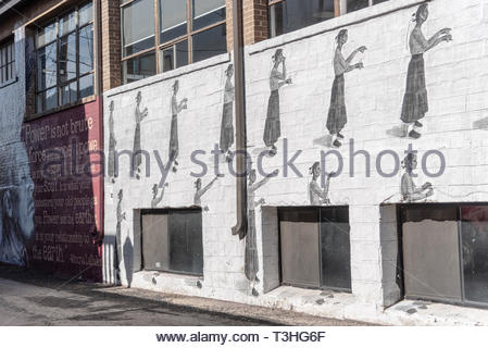 Flagstaff, Arizona - March 23, 2019 - Street art in the alleys of downtown Flagstaff - Stock Photo