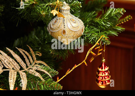 Christmas tree decorated with toys. Holiday concept - Stock Photo