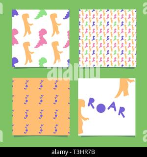 Silhouettes of dinosaurs for the design of children's clothing, textiles, walls, birthday parties. One seamless pattern with dino and the inscription - Stock Photo
