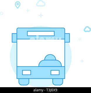 Bus Front View Flat Vector Icon. City, Urban, Public Transport Illustration. Light Flat Style. Blue Monochrome Design. Editable Stroke. Adjust Line We - Stock Photo