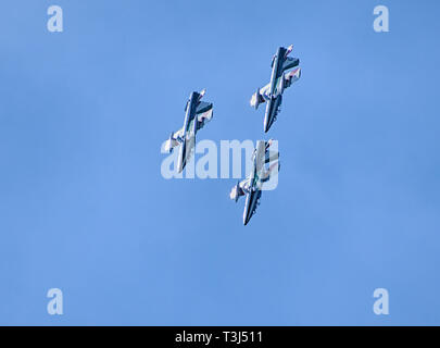 Frecce tricolori at Zadar 4. April 2019. flying with 30 knots south wind - Stock Photo