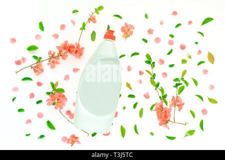 Liquid dish soap bottle mock up with springtime floral decoration