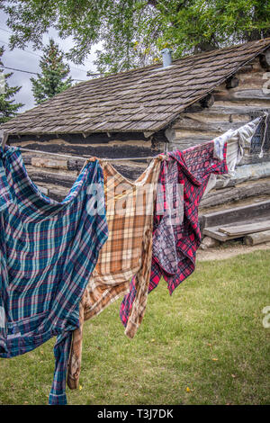 Old-fashioned lifestyles and activities are featured at Frontier Village in Jamestown, North Dakota. - Stock Photo