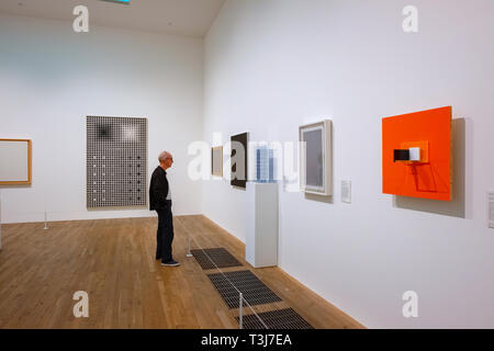 London, UK - May 22 2018: Tate Modern is a modern art gallery  houses international modern pieces of art of the Tate group (together with Tate Britain - Stock Photo