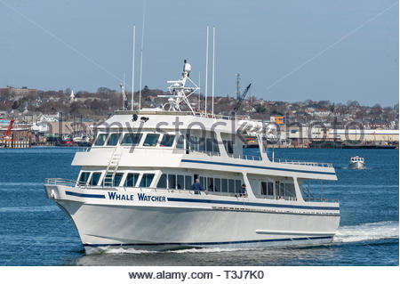 Fairhaven, Massachusetts, USA - April 7, 2019: Whale Watcher cruise boat heading back to Hyannis to start its season - Stock Photo