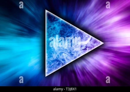 Abstract art colored smoke in the shape of a triangle on black isolated background. Stop the movement of multicolored smoke on dark background - Stock Photo