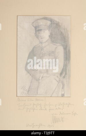 First Lieutenant Max Immelmann (1890 - 1916), a self portrait and photo, Christmas 1915 Self portrait in uniform, coal on paper, signed and dated on lower left 'Max 1915'. In mount with gift dedication in pencil 'Dear Mama! Thousand cordial greetings for Christmas and many thanks for everything, your son Max. Christmas 1915'. Also a group photo of the Christmas celebration of the flight crews 1915, mounted and with Immelmann's ink signature on the back 'Christmas at the F.A. Unit 62'. He wrote to his mother: 'At 5 p.m. the presents were given to , Additional-Rights-Clearance-Info-Not-Available - Stock Photo