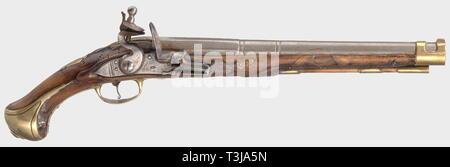 Small arms, pistols, cavalry flintlock pistol, calibre 18 mm, mark 'AK', circa 1700, Editorial-Use-Only - Stock Photo