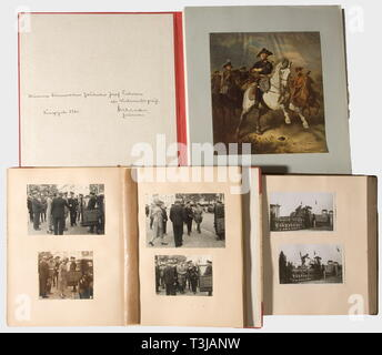 Gauleiter Josef Terboven (1898 - 1945) - two photo albums of the Bad Aachen riding and jumping competitions, 1937 and 1938., Altogether ca. 160 photographs in postcard format. Riders in historic costume, mounted Army band, wagon teams, riders in civilian dress and in various uniforms, laying the wreath, etc. The concluding evening reception at the Reichs Hall in the Aachen Town Hall, with many close-up pictures of the guests: SS, SA, and Party as well as national and foreign military officers. Also a 'Düsseldorfer Kunstmappe 1940' (Düsseldorf Art Folder 1940) with a dedicat, Editorial-Use-Only - Stock Photo
