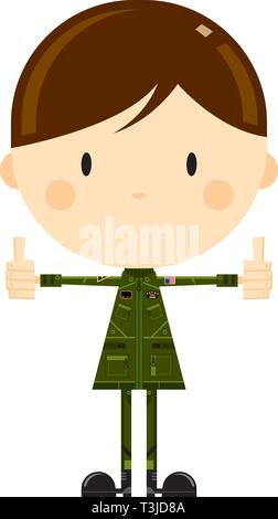 Cartoon Air Force Fighter Pilot - Stock Photo
