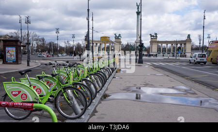 Budapest, Hungary, March 15 2019: BuBi moll rent a bike station in Andrassy Street - Stock Photo
