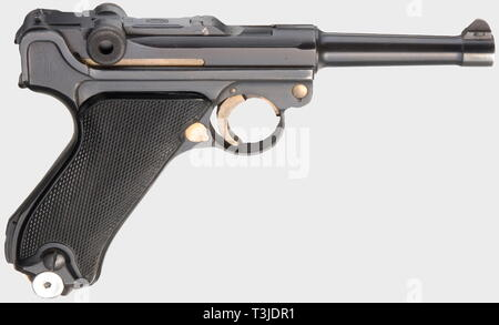 A Parabellum Mauser Commercial, dated '42' with Mauser barrel, calibre 9 mm Parabellum, no. 9323w. Matching numbers. Almost bright bore. No proof marks. Left on frame marked 'P. 08'. Complete original finish with only slight spots on trigger plate. Small parts strawed. Flawless black plastic grip panels. Numberless fxo-magazine with aluminium base. Assembled towards the end of 1944. Top item in almost new condition and very rare. Comes with a non-matching P 38 hardshell. Cf. Still, Third Reich Lugers, pp. 219 f. and Costanzo, World of Lugers, pp. 405 and 417 where serial no, Editorial-Use-Only - Stock Photo