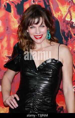 New York, NY, USA. 9th Apr, 2019. Milla Jovovich at NY Special Screening of HELLBOY at AMC Lincoln Square on April 9, 2019 in New York City. Credit: Diego Corredor/Media Punch/Alamy Live News - Stock Photo