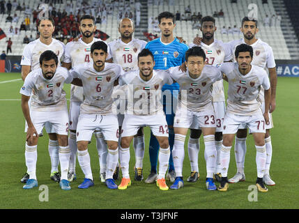 Doha, Qatar. 9th Apr, 2019. Players of Al Wahda FSCC line up before the AFC Asian Champions League group B match between Qatar's Al Rayyan SC and UAE's Al Wahda FSCC at Jassim Bin Hamad Stadium in Doha, capital of Qatar, April 9, 2019. Al Wahda won 2-1. Credit: Nikku/Xinhua/Alamy Live News - Stock Photo