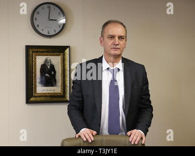 Russia. 10th Apr, 2019. LENINGRAD REGION, RUSSIA - APRIL 10, 2019: Sovcomflot Executive Vice President and Chief Technical Officer Igor Tonkovidov at the Mendeleev Prospect oil tanker operated by Sovcomflot. The Mendeleev Prospect is an Aframax class tanker running on liquefied natural gas. Alexander Ryumin/TASS Credit: ITAR-TASS News Agency/Alamy Live News - Stock Photo