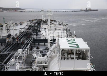 Russia. 10th Apr, 2019. LENINGRAD REGION, RUSSIA - APRIL 10, 2019: Deck at the Mendeleev Prospect oil tanker operated by Sovcomflot moored at the Primorsk Commercial Seaport, the end point of the Baltic Pipeline System. The Mendeleev Prospect is an Aframax class tanker running on liquefied natural gas. Alexander Ryumin/TASS Credit: ITAR-TASS News Agency/Alamy Live News - Stock Photo