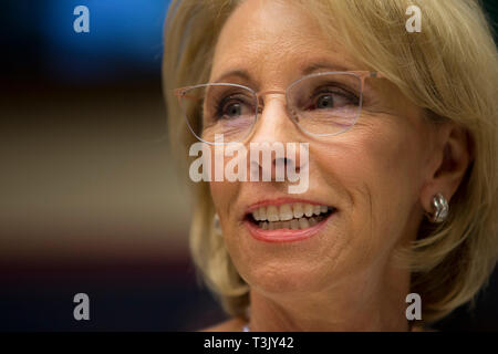 Washington DC, USA. 10th Apr, 2019. United States Secretary of Education Betsy Devos testifies on her department's fiscal year 2020 budget before the US House Committee on Education and Labor on Capitol Hill in Washington, DC on April 10, 2019. Credit: Stefani Reynolds/CNP /MediaPunch Credit: MediaPunch Inc/Alamy Live News - Stock Photo
