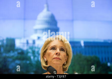 Washington DC, USA. 10th Apr, 2019. United States Secretary of Education Betsy Devos testifies on her department's fiscal year 2020 budget before the US House Committee on Education and Labor on Capitol Hill in Washington, DC on April 10, 2019. Credit: Stefani Reynolds/CNP | usage worldwide Credit: dpa/Alamy Live News - Stock Photo