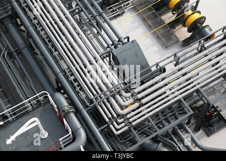 Russia. 10th Apr, 2019. LENINGRAD REGION, RUSSIA - APRIL 10, 2019: Pipes at the Mendeleev Prospect oil tanker operated by Sovcomflot moored at the Primorsk Commercial Seaport, the end point of the Baltic Pipeline System. The Mendeleev Prospect is an Aframax class tanker running on liquefied natural gas. Alexander Ryumin/TASS Credit: ITAR-TASS News Agency/Alamy Live News - Stock Photo