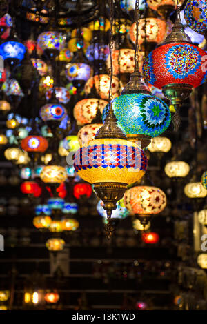 Beautiful Traditional Ramadan Light Lamp with blur background - Shot from Dubai Spice Souk, famous tourkish light, place to visit in dubai-UAE - Stock Photo