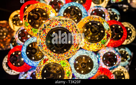 Multycolor Background of Traditional Turkish Hanging Light Lamps click from Dubai Spice and Gold Souk - Stock Photo