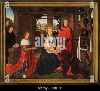 'Central panel from triptych the 'Adoration of the Magi', 1479-1480. Creator: Hans Memling. - Stock Photo