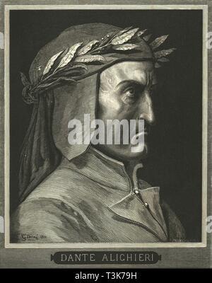 Portrait of Dante Alighieri, (c1890).  Creator: Gustave Doré. - Stock Photo