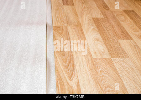 Laminate, the structure of wood, wooden boards and insulating substrate - Stock Photo
