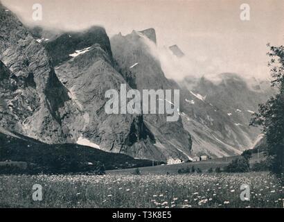 """'Troldtinderne', 1914 . Troldtinderne, in the Romsdalen valley. From """"Norge - Turistruter I 65 Billeder"""". [Mittet & Co, Kunstforlag - Kristania, 1914] - Stock Photo"""