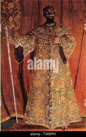 'Portrait of Fyodor Ivanov Shaliapin (1873-1939) in the Role of Boris Godunov', 1912, (1965). Creator: Aleksandr Golovin. - Stock Photo