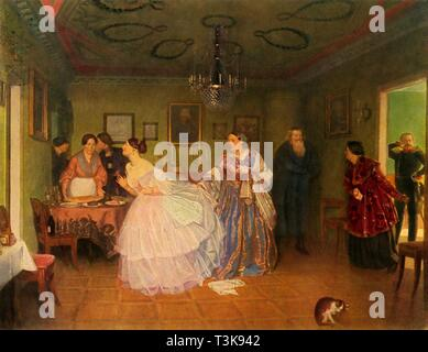 "'The Major's Courtship', or 'He Improves his Situation', 1848, (1965). A merchant's daughter, wearing an elaborate flounced and layered dress, prepares to meet the major waiting in the next room. Painting, also known as 'Matchmaking of the Major', in the State Tretyakov Gallery, Moscow. From ""Russian Painting of the 18th and 19th Centuries"" by Vladimir Fiala. [Artia, Czechoslovakia, 1965] - Stock Photo"