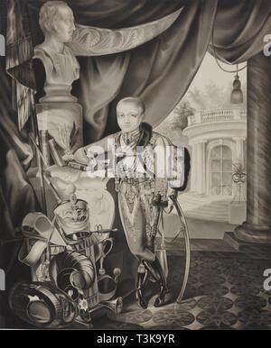 Portrait of the Crown prince Alexander Nikolayevich (1818-1881), 1827. Creator: Hampeln, Carl, von (1794-after 1880). - Stock Photo