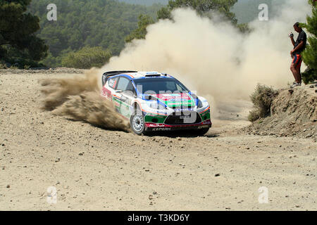 2011 Acropolis Rally, Special Stage 16 (Aghii Theodori 2). Mikko Hirvonen - Jarmo Lehtinen, Ford Fiesta RS WRC (finished 3rd) - Stock Photo