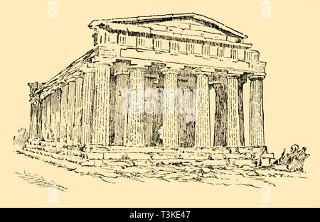 """'The Temple of the Greek Colony at Agrigentum in Sicily', c1930. One of the twin Doric temples dedicated to Hera and Concordia, dating from 6th-5th century BC, at the ancient Greek settlement of Agrigento in southern Italy. From """"The World's Story, a Simple History for Boys and Girls"""", by Elizabeth O'Neill. [T. C. & E. C. Jack, London & Edinburgh, c1930] - Stock Photo"""