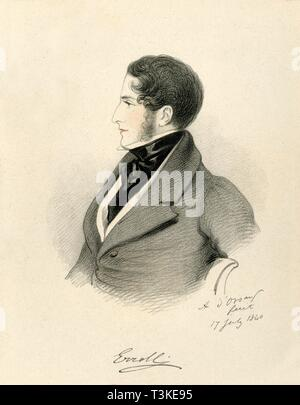 """'The Earl of Erroll', 1840. Portrait of William George Hay, 18th Earl of Erroll (1801-1846), Scottish peer and politician. From """"Portraits by Count D'Orsay"""", an album assembled by Lady Georgiana Codrington. [1850s] - Stock Photo"""