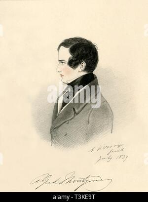 """'Alfred Montgomery', 1839. Portrait of Alfred Montgomery (1814-1896), British Commissioner for Inland Revenue. From """"Portraits by Count D'Orsay"""", an album assembled by Lady Georgiana Codrington. [1850s] - Stock Photo"""