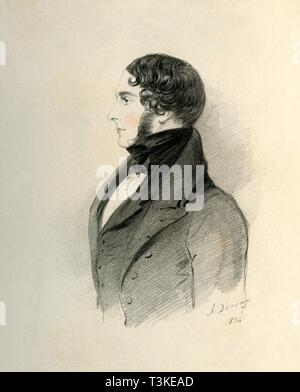 """'William Massey Stanley Esquire', 1834. Portrait of Sir William Stanley-Massey-Stanley, 10th Baronet, (c1806-1863), British landowner and Conservative politician. From """"Portraits by Count D'Orsay"""", an album assembled by Lady Georgiana Codrington. [1850s] - Stock Photo"""