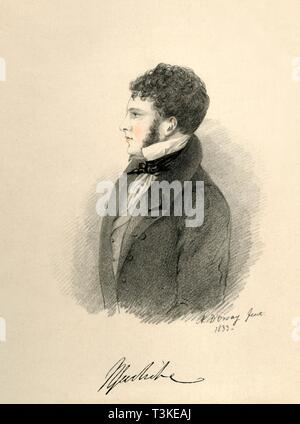"""'Sir Harry Goodricke', 1833. Portrait of British aristocrat Sir Henry James Goodricke (1797-1833). From """"Portraits by Count D'Orsay"""", an album assembled by Lady Georgiana Codrington. [1850s] - Stock Photo"""