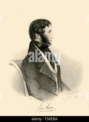 'George Anson', 1840. Creator: Richard James Lane. - Stock Photo