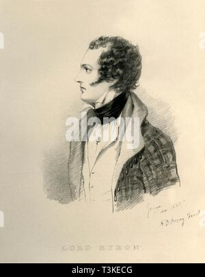 """'Lord Byron', 1823. Portrait of English poet George Noel Gordon Byron, Lord Byron (1788-1824). From """"Portraits by Count D'Orsay"""", an album assembled by Lady Georgiana Codrington. [1850s] - Stock Photo"""