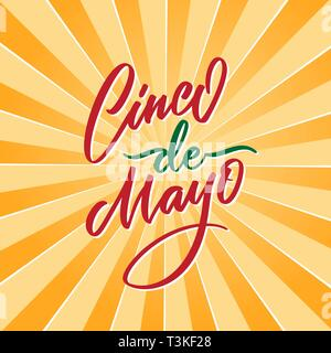 Cinco de Mayo vector typography. 5 of May on Spanish holiday vector calligraphy. Cinco de Mayo holiday banner. Mexican holiday lettering on yello - Stock Photo