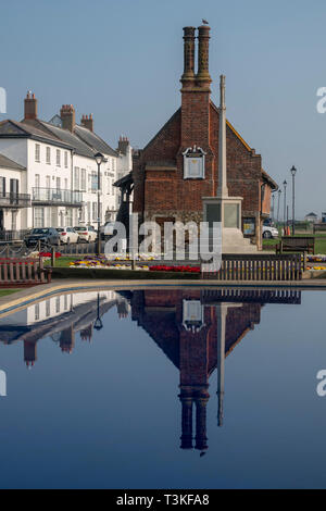 Boating pond with Moot Hall in background, Aldeburgh Suffolk