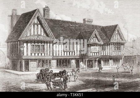 The Old Crown, a pub in Deritend, the oldest extant secular building in Birmingham, England, seen here in 1865. From The Illustrated London News, published 1865. - Stock Photo